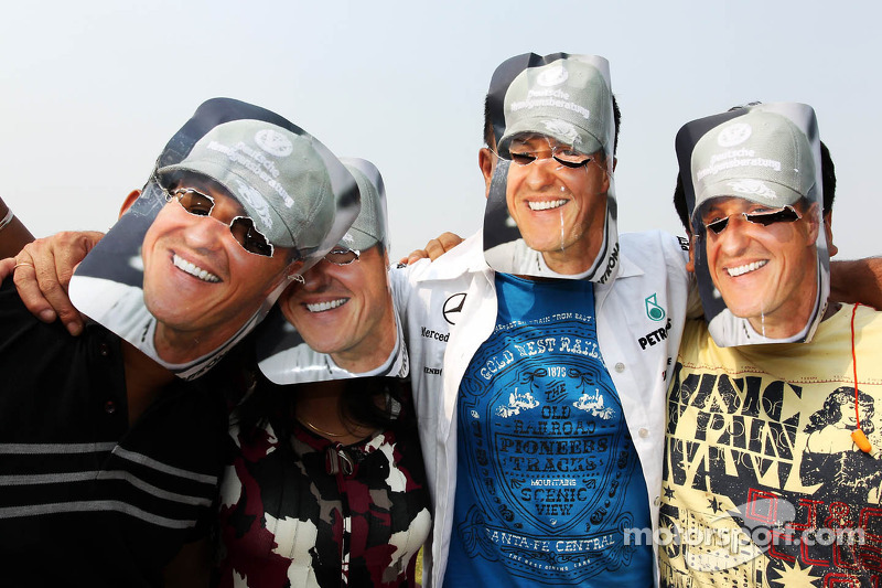 Michael Schumacher, Mercedes AMG F1 fans with banners and masks