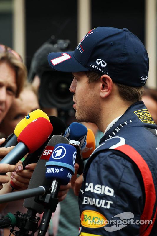 Sebastian Vettel, Red Bull Racing with the media