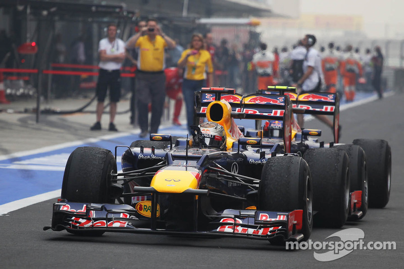 Race winner Sebastian Vettel, Red Bull Racing celebrates as he enters parc ferme