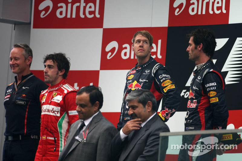 Sebastian Vettel, Red Bull Racing, Fernando Alonso, Scuderia Ferrari en Mark Webber, Red Bull Racing