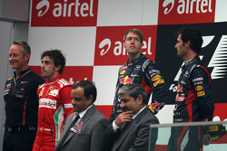 Sebastian Vettel, Red Bull Racing, Fernando Alonso, Scuderia Ferrari and Mark Webber, Red Bull Racing