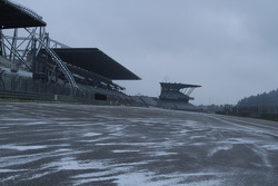 The track is covered in snow, reason for the race cancelation