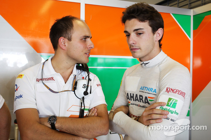 Jules Bianchi, Sahara Force India F1 Team derde rijder en Gianpiero Lambiase, Sahara Force India F1 Engineer