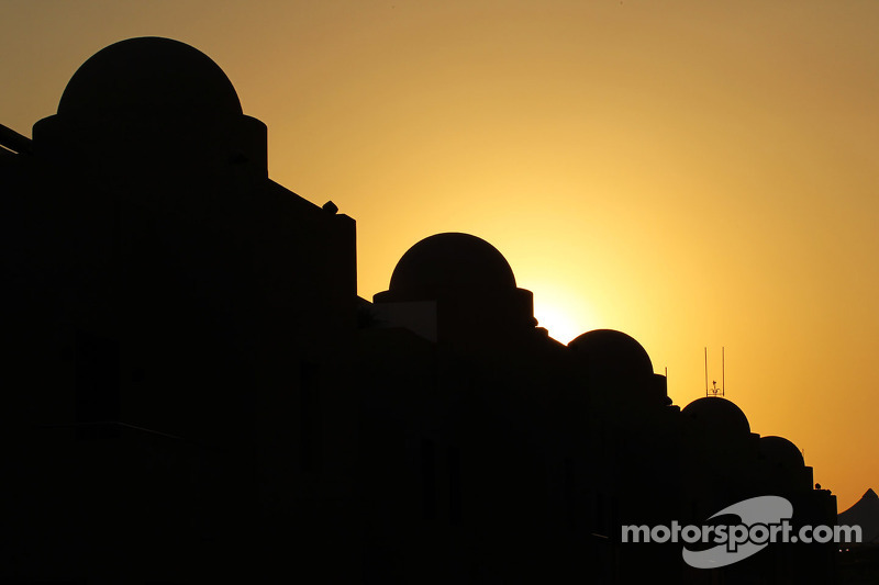 Sun sets over the paddock