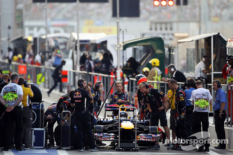 Sebastian Vettel, Red Bull Racing waits to start his race from the pit lane