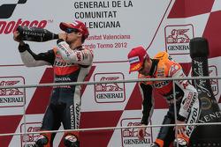 Podium: winner Dani Pedrosa, Repsol Honda Team, third place Casey Stoner, Repsol Honda Team