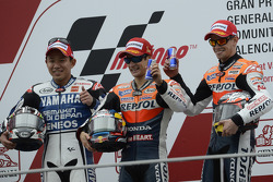 Podium: winner Dani Pedrosa, Repsol Honda Team, second place Katsuyuki Nakasuga, Yamaha Factory Racing, third place Casey Stoner, Repsol Honda Team