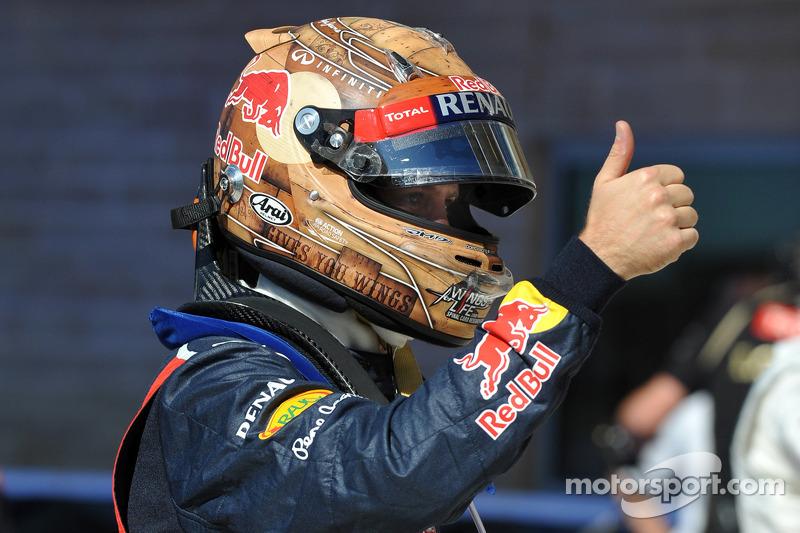 Polesitter Sebastian Vettel, Red Bull Racing celebrates