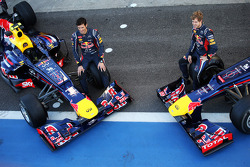 Mark Webber, Red Bull Racing RB8 and team mate Sebastian Vettel, Red Bull Racing RB8 at a team photograph