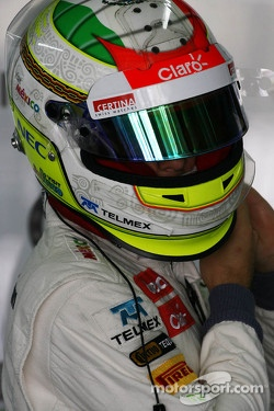 Helmet used in 2012 season by Sergio Perez, with CERTINA lettering