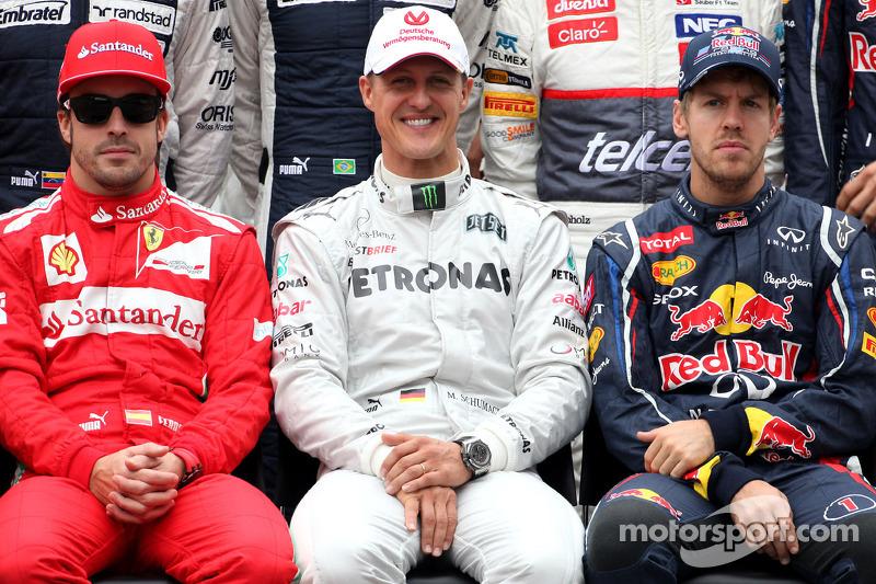 Fototermin: Fernando Alonso, Michael Schumacher, Sebastian Vettel