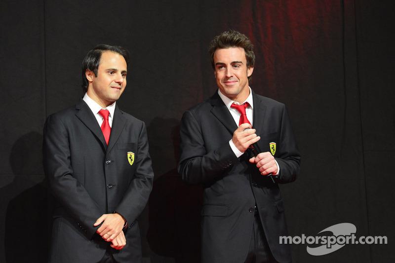 Felipe Massa and Fernando Alonso at the Ferrari Gala