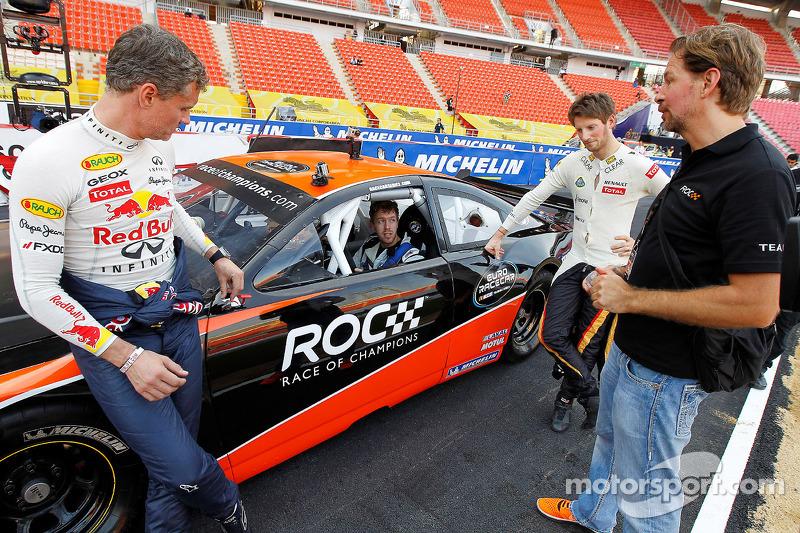 Sebastian Vettel, Romain Grosjean en David Coulthard