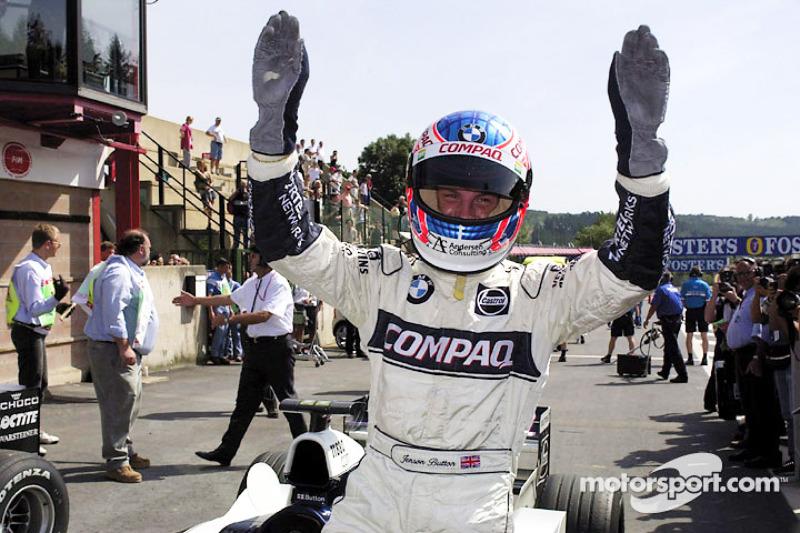 Jenson Button celebrates third qualifying position