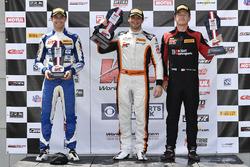 Podium: race winner Alvaro Parente, K-Pax Racing, second place Patrick Long, Wright Motorsports, third place Alec Udell, GMG Racing