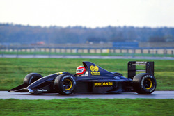 John Watson tests the Jordan 911 which was later renamed the Jordan 191