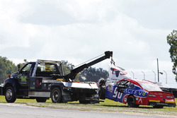 Mario Gosselin, King Autosport Chevrolet gets towed away after a crash