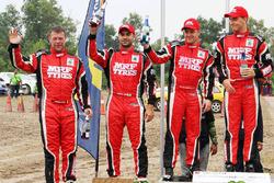 Podium: Winners Ole Christian Veiby, Stig Rune Skjærmoen, Team MRF, second place Gaurav Gill, Stéphane Prévot, Team MRF