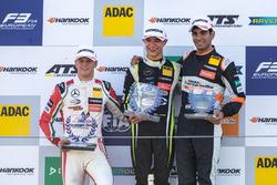 Podium, Rookie, Mick Schumacher, Prema Powerteam, Dallara F317 - Mercedes-Benz, Lando Norris, Carlin, Dallara F317 - Volkswagen, Jehan Daruvala, Carlin, Dallara F317 - Volkswagen