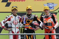 Podium: second place Yuki Takahashi, Race winner Marc Marquez, third place Stefan Bradl