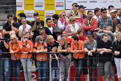 Fans watch the pre-race activities