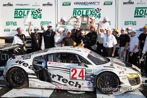 GT podium: class winners Filipe Albuquerque, Oliver Jarvis, Edoardo Mortara, Dion von Moltke celebrate with their team