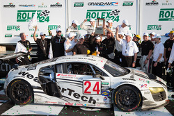 GT podium: class winners Filipe Albuquerque, Oliver Jarvis, Edoardo Mortara, Dion von Moltke celebrate with their team