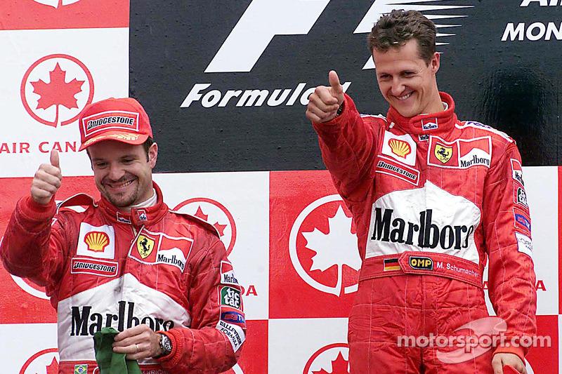 Podium: race winner Michael Schumacher, second place Rubens Barrichello