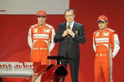 Stefano Domenicali, Felipe Massa and Fernando Alonso with the Ferrari F138