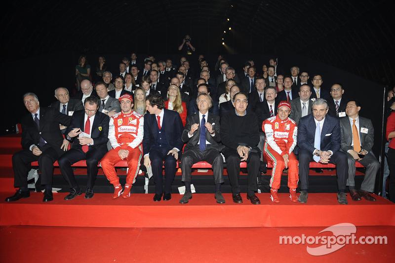 Piero Ferrari, Felipe Massa, Luca di Montezemolo, Fernando Alonso and Stefano Domenicali