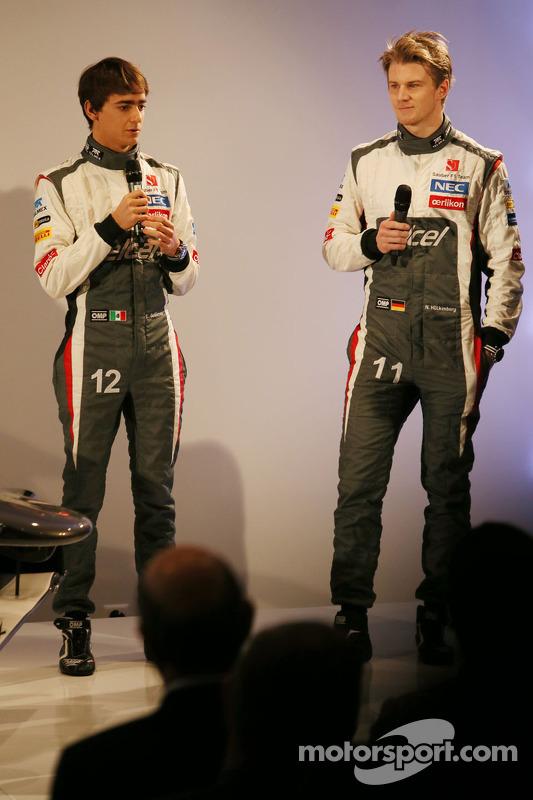 Esteban Gutierrez, Sauber with team mate Nico Hulkenberg, Sauber