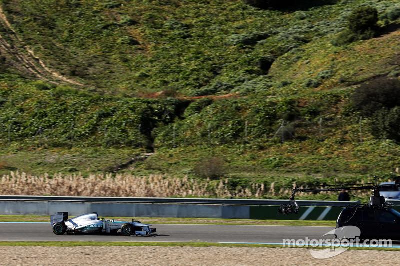 Nico Rosberg shakesdown the Mercedes AMG W04
