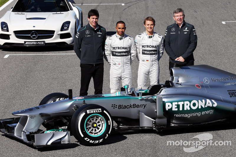 Toto Wolff, Mercedes AMG F1 Shareholder and Executive Director; Lewis Hamilton, Mercedes AMG F1 and