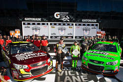 Front row for the 2013 Daytona 500: pole winner Danica Patrick, Stewart-Haas Racing Chevrolet, with second fastest qualifier Jeff Gordon, Hendrick Motorsports Chevrolet