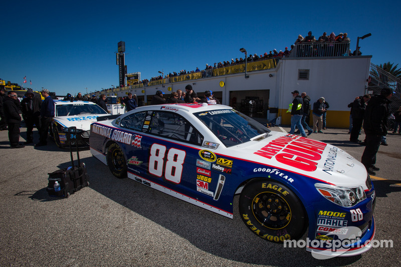 Car of Dale Earnhardt Jr., Hendrick Motorsports Chevrolet at technical inspection