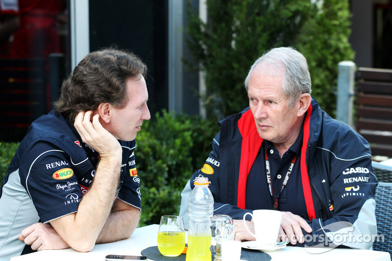 Christian Horner, Teambaas Red Bull Racing met Dr Helmut Marko, Red Bull Motorsport Consultant