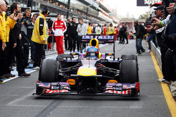 Sebastian Vettel, Red Bull Racing RB9 enters parc ferme