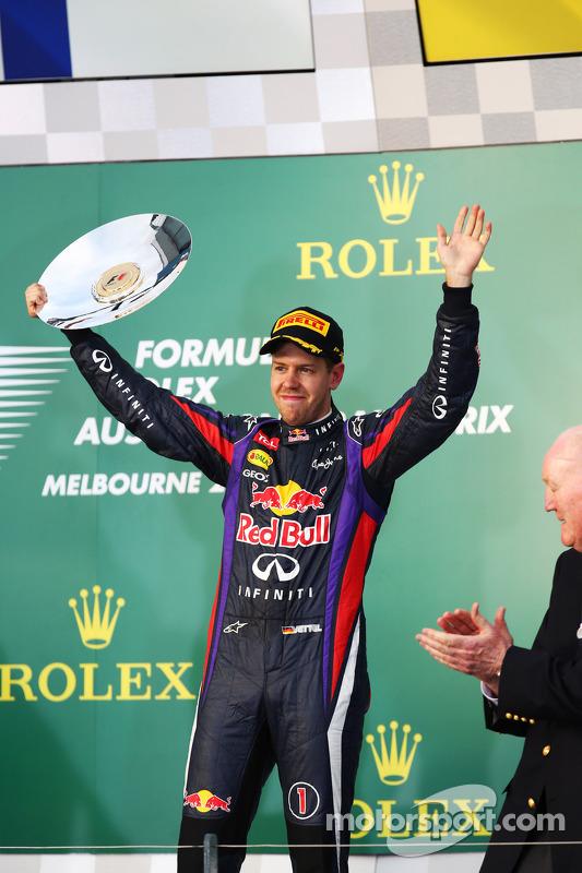 Sebastian Vettel, Red Bull Racing comemora sua terceira posição no pódio
