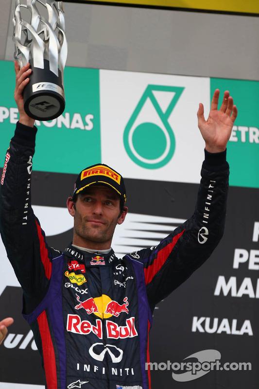 pódio: segundo colocado Mark Webber, Red Bull Racing