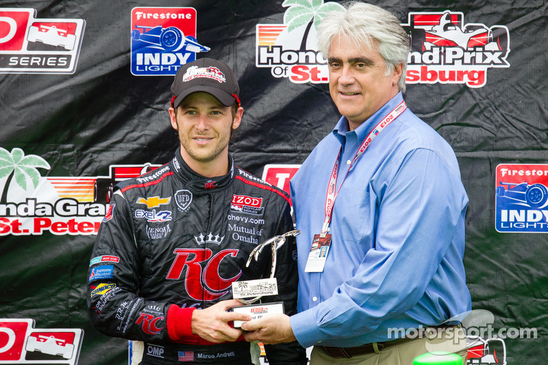 Podium: third place Marco Andretti, Andretti Autosport Chevrolet with Mark Miles, CEO of Hulman and Company