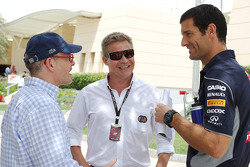(L to R): Jacques Villeneuve, with Mika Salo, FIA Steward and Mark Webber, Red Bull Racing