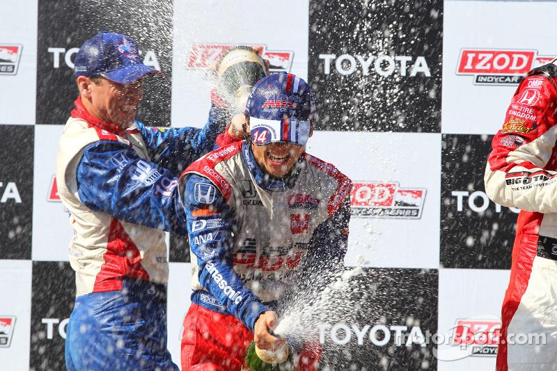 Victory circle: race winner Takuma Sato, A.J. Foyt Enterprises Honda, second place Graham Rahal, Rahal Letterman Lanigan Racing Honda, third place Justin Wilson, Dale Coyne Racing