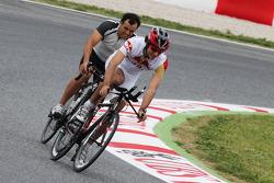 Carlos Sainz Jr. cycles the circuit