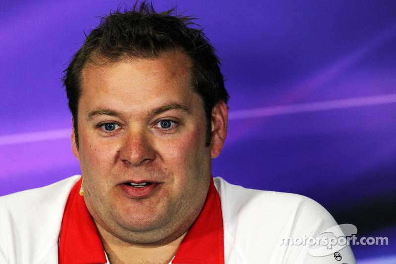 Dave Greenwood, Marussia F1 Team Race Engineer bij de FIA-persconferentie