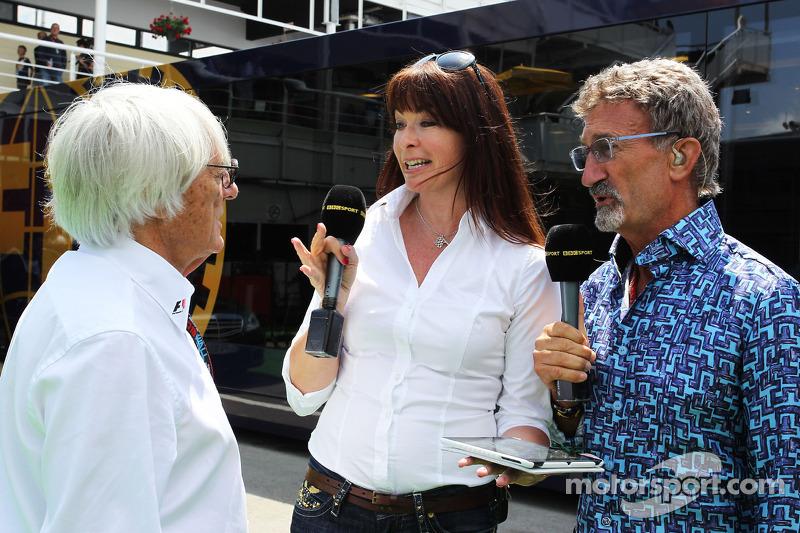 (L naar R): Bernie Ecclestone, CEO Formula One Group, met Suzi Perry, BBC F1-presentatrice en Eddie