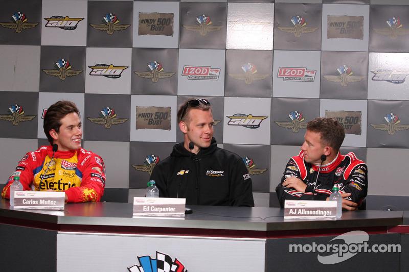 Carlos Munoz, Andretti Autosport Chevrolet, Ed Carpenter, Ed Carpenter Racing Chevrolet, A.J. Allmen