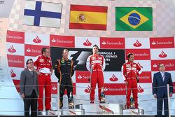 1st place Fernando Alonso, Ferrari F138 with 2nd place Kimi Raikkonen, Lotus F1 E21 and 3rd place Felipe Massa, Ferrari F138 and Stefano Domenicali, Ferrari General Director
