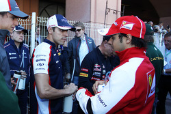 (L to R): Pastor Maldonado, Williams with Felipe Massa, Ferrari on the drivers parade