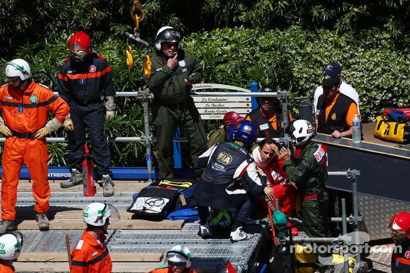 Felipe Massa, Ferrari crashed out of the race at Ste Devote