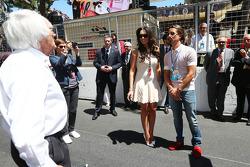 Bernie Ecclestone, CEO Formula One Group, and daughter Tamara Ecclestone, with fiance Jay Rutland on the grid